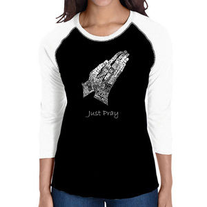 Women's Raglan Baseball Word Art  HANDS IN PRAYER